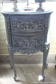 Shabby Chic Vintage French Style Furniture Wood Side Table / Antiqued Blue