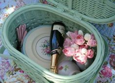 """Wedding reception=picnic.  Each guest gets their own picnic basket to set up for dinner :) @Veronica Sartori Allen, it might be fun to do a twist on this idea, and have a basket at each table full of s'mores things, plates, cups, napkins etc - & let guests """"make your own picnic""""?"""