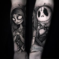 Beginning of a Tim Burton full sleeve, session. Emo Tattoos, Spooky Tattoos, Badass Tattoos, Disney Tattoos, Body Art Tattoos, Tattoo Drawings, Tattoos Pics, Fake Tattoos, Tattos