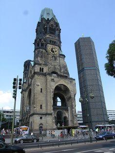 Gedachtniskirche: old and new tower of the church near Kurfurstendamm, Berlin, Germany / http://en.wikipedia.org/wiki/Kaiser_Wilhelm_Memorial_Church
