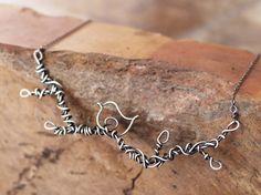 Branch Necklace, Bird, Sterling Silver, Oxidized, Wire Jewelry