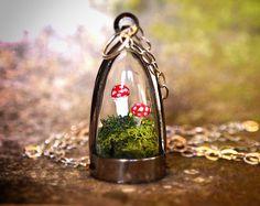 Moss Terrarium Mushroom Dome Necklace by RenataandJonathan on Etsy, $65.00