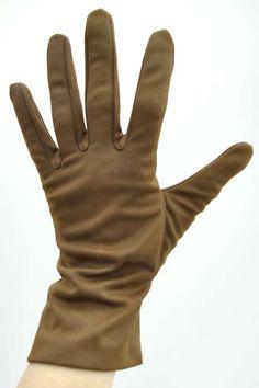 Vintage 1950s Brown Nylon Short Day Gloves Ladies Vintage 1950s Chocolate Brown Nylon Gloves
