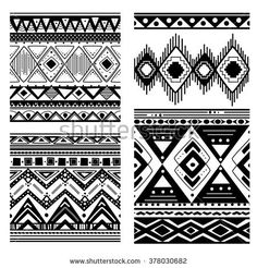 Navajo Aztec Border Vector Illustration Page Stock Vector (Royalty Free) 259728050 Tribal Pattern Art, African Tribal Patterns, Ethnic Patterns, Navajo, Mehndi, Sharpie Art, Vector Background, Signs, Aztec