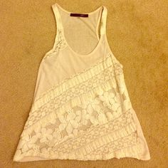 Cream mixed lace tank top Cream lace tank top with mixed pattern. Worn once. Sheer so requires a tank or bandeau underneath Tops