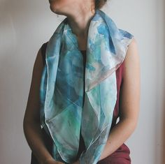 Hand Painted Silk cover-up cyan and light blue by AliceElettrica