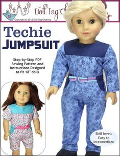 """Casual wear jumpsuit inspired by girls who love STEM. This Jumpsuit for 18"""" dolls has a bodice with gathers that are flat in the waist. The waistline is finished off with belt band and ribbon ties are added. A romper version is also included."""