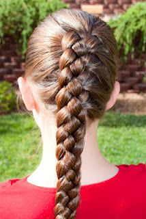 French 4-Strand with instructional video @ Princess Piggies.  This one is cool because it's half French Braid and half Dutch Braid!
