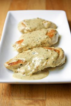 Chicken with Mustard Cream Sauce letsdishrecipes.com #chicken #mustard #dinner #recipe