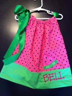 Watermelon Personalized pillowcase dress- made to order - Great Birthday or picnic outfit! on Etsy, $24.00
