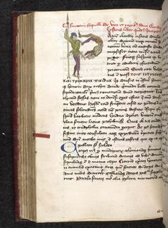 A figured initial (video 6.2) is when the initial is composed of animals, figures, or vegetal motives arranged in the letter's shape.  An anthropomorphic initial is composed of human figures.  British Library, Sloane 2509 f. 99v. Public domain, no known copyright restrictions.