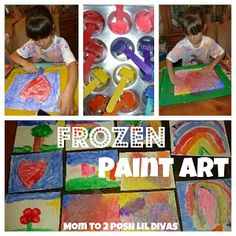 Mom to 2 Posh Lil Divas: Frozen Paint Art - COOL Fun on a HOT Day!