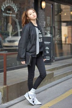 Cute and sporty #koreanfashion #koreanstreetstyle