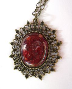 Fused Glass Jewelry - Red Necklace - Filigree Pendant Necklace by Tocasol on Etsy