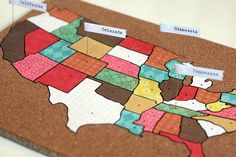 different scrapbook paper for each state    future art project idea