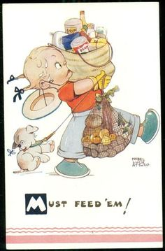 MABEL LUCIE ATTWELL Grocery Shopping Girl Artist Postcard | eBay
