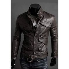 $33.69 Korean Stand Collar Multi-Pocket Long Sleeves PU Leather Jacket For Men