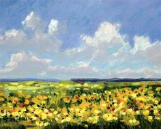 "Daily Paintworks - ""Flower Field"" - Original Fine Art for Sale - © Linda Blondheim"