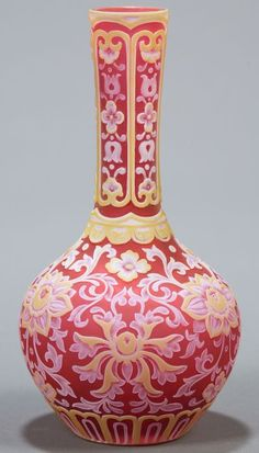 cameo glassware   Webb Gem Cameo Glass Four-layer Decorated Vase, Auctioned for $35,250