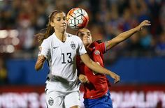 FRISCO, TX - FEBRUARY 10:  Alex Morgan #13 of USA scores a goal in the first minute of play against Wendy Acosta #20 of Costa Rica during the 2016 CONCACAF Women's Olympic Qualifying at Toyota Stadium on February 10, 2016 in Frisco, Texas.