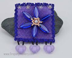 Flower Pin  blue and purple beadwoven flower by FirepanJewellery