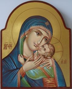 Mother of God Tenderness icon by Peter Dzyuba Religious Icons, Religious Art, Mother Mary, Mother And Child, Paint Icon, Mama Mary, Russian Icons, Religious Paintings, Byzantine Icons