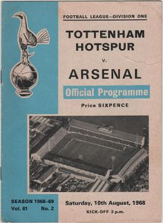 Vintage Football Programme - Tottenham Hotspur v Arsenal, 1968/69 season, by DakotabooVintage, £2.99