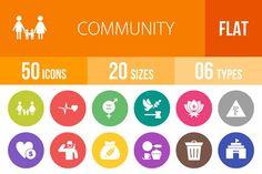 50 Community Flat Round Icons by IconBunny on @creativemarket