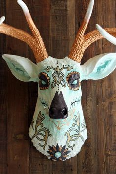 *Sylvia* Day of the Dead - Faux Taxidermy Deer Head - Handpainted Resin Wall Art Hanging | eBay