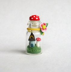 Miniature Whimsy Toadstool & Fairy House by ArtisticSpirit on Etsy, $28.00