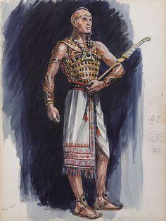 JOHN JENSEN COSTUME SKETCH FOR YUL BRYNNER FROM THE TEN COMMANDMENTS