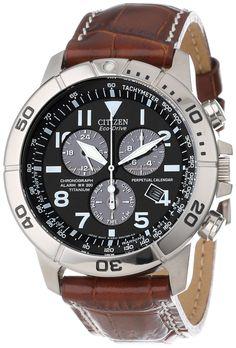 """Citizen Men's BL5250-02L """"Eco-Drive"""" Leather and Titanium Watch"""