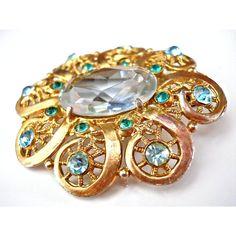 Aqua Blue Glass Brooch, Victorian, Rhinestones, Vintage, Flower Gold... (10 AUD) ❤ liked on Polyvore featuring jewelry, brooches, victorian jewelry, rhinestone brooches, rhinestone jewelry, glass jewelry and victorian brooch