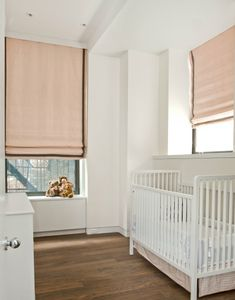 Lovely Blush Roman Shades with Contrast Tape