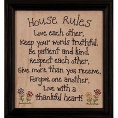 House Rules Stitched Sign Primitive Antique Home Wall Decor Gift Primitive Embroidery, Primitive Stitchery, Primitive Crafts, Primitive Christmas, Country Christmas, Christmas Christmas, Primitive Snowmen, Cross Stitching, Cross Stitch Embroidery