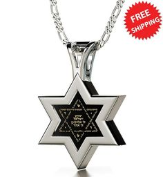 925 Sterling Silver Jewish Star of David Necklace for Men or Women Shema Yisrael Pendant Gold Inscribed in Hebrew Entire Hear O' Israel Prayer in Miniature Text on Black Onyx Gemstone, Chain Silver Stars, Black Silver, White Gold, 925 Silver, Sterling Silver, Black Onyx, Black Necklace, Men Necklace, Star Of David