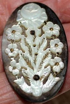Amazing Antique Mother of Pearl Carved Button.