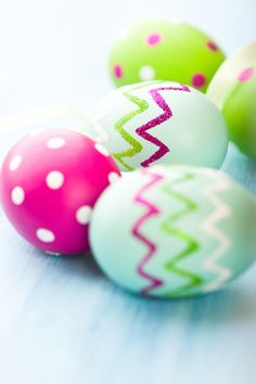 Pink and green Easter egg color palette. We love the glitter zig-zag stripes!
