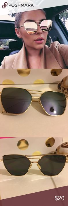 New! Cat eye•  mirror sunglasses Look purple/blue Mirror  sunglasses.                                                           Unbranded. Not accepting OFFERS on INDIVIDUAL ITEMS ❌ No trades ❌.                                                                                         If u want to create your own bundle just let me know so I can give you a price BEFORE purchase has been made Accessories Sunglasses