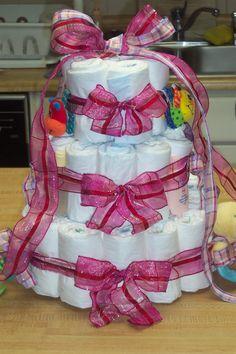Diaper cake I made for a friends baby shower