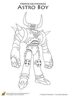 Dessin Dun Robot Avec Des Cornes De La Serie Astro Boy A Colorier