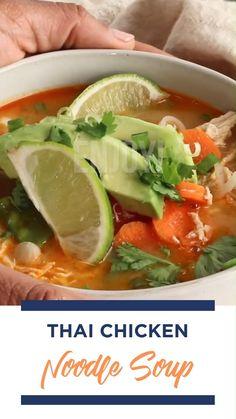 Thai Recipes, Asian Recipes, Soup Recipes, Chicken Recipes, Dinner Recipes, Cooking Recipes, Healthy Recipes, Thai Chicken Noodles, Breakfast