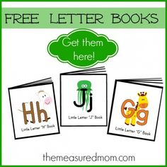 A list of free letter books available from The Measured Mom - she will keep adding to the list as she creates new books