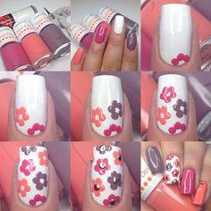 uñas decoradas con flores faciles