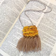 Handwoven mini tapestry necklace. Bohemian style by HandDrawnYarn