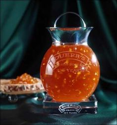 Duerr's, a family-run Manchester jam firm celebrated their 125th anniversary with the creation of the world's most expensive Marmalade at a cost of $19,000 per jar. The one of a kind hand-crafted crystal jar contains oranges with 62-year old Falmore malt whisky, Pol Roger vintage champagne and edible gold leaf.