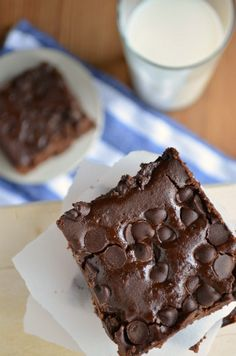 flourless chocolate chip brownies, uses black beans - I love recipes that allow me to trick my children to eating something healthy!