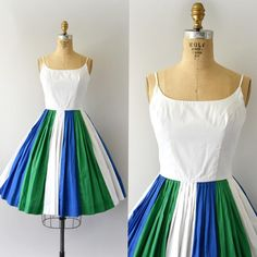 """Sweet Bee Finds (@sweetbeefinds) on Instagram: """"SOLD 💙💚💙1950s Sundress, blue, green and white colorblock cotton, scoop neck, fitted bodice, very…"""""""