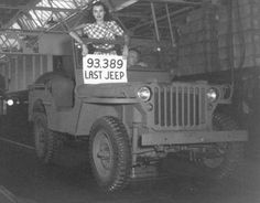 Last GPW jeep produced by Ford at one of its plants during World War II, 1945. The sign indicates it is number 93,389. The serial number is 20748944. This is probably the Lousiville, KY plant where other records say the total production of jeeps was 93,364 until contracts ended in July 1945.