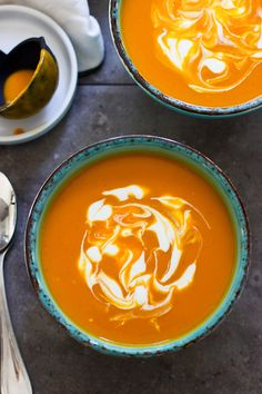 Curried Carrot Coconut Soup - A quick, easy dinner that comes together in under 30 minutes with only six ingredients!